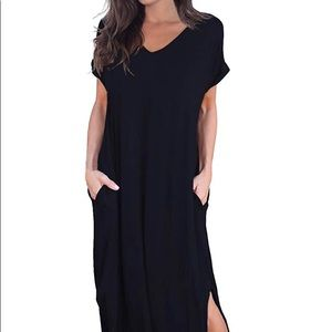 Women's Pocket Long Dress Split Maxi Dress